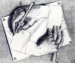 Escher work 'Drawing Hands' - two hands each drawing the other
